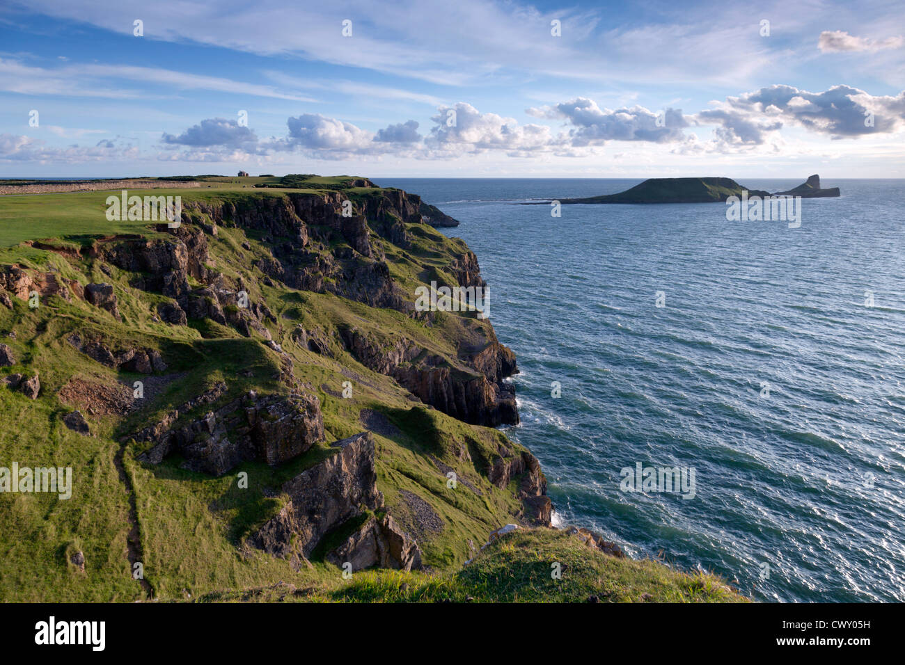 Rhossili; Worms Head; Gower; Wales; UK - Stock Image