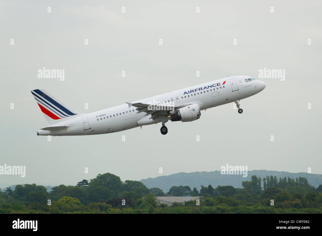 An Air France Airbus A320 taking off from Manchester International Airport (Editorial use only) - Stock Image