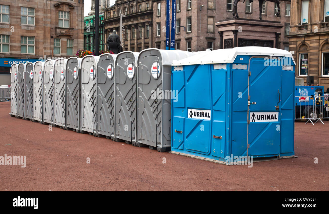 Row of tgemporary Portaloos, including a urinal, in George Square,Glasgow. - Stock Image