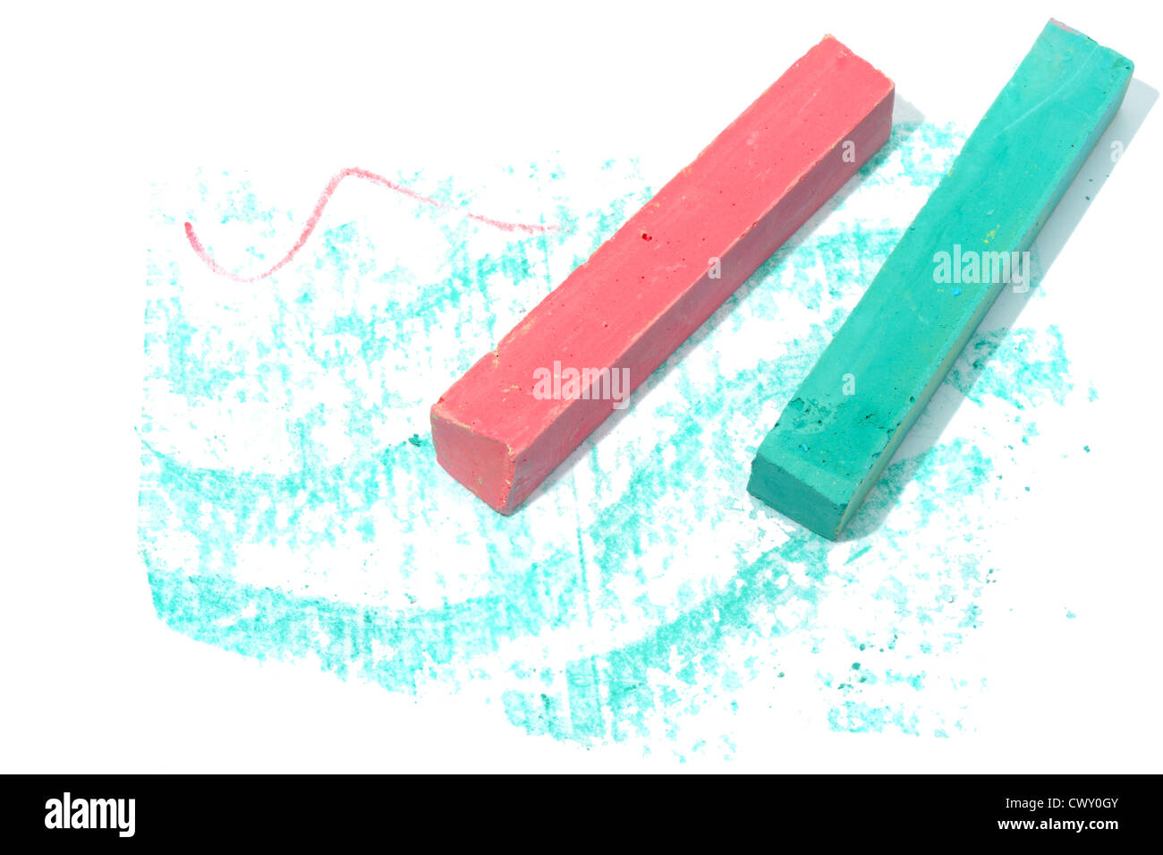 Colored crayon chalk on a white background isolated. - Stock Image