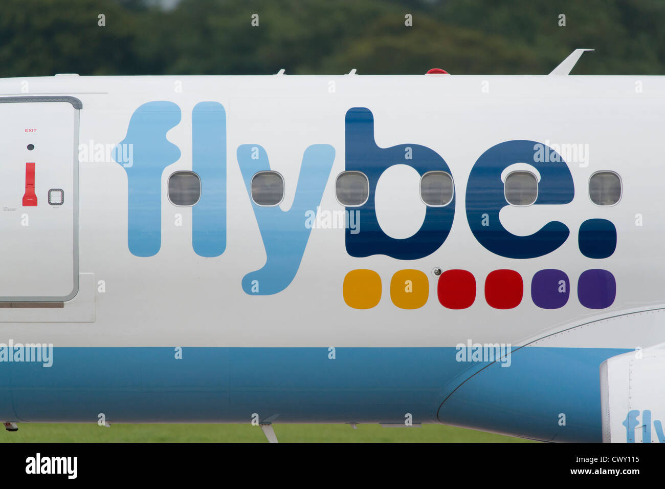 A close up of the Flybe logo on the fuselage of a passenger aircraft (Editorial use only) - Stock Image
