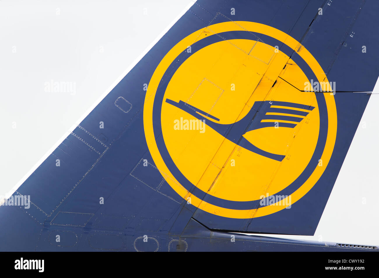 A close up of the Lufthansa logo on the tail fin of a passenger aircraft (Editorial use only) - Stock Image
