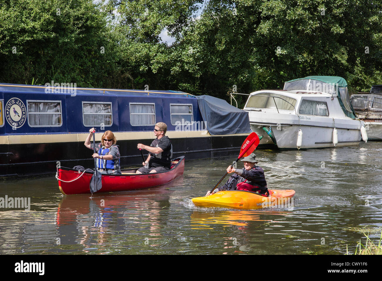 Canoeing on the River Wey Navigation, Send, Surrey, England, UK. Europe - Stock Image