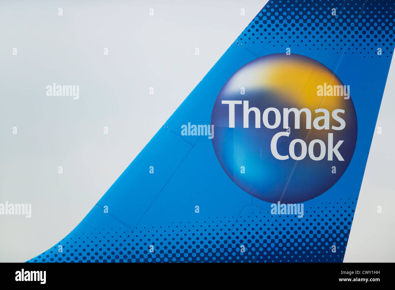 A close up of the Thomas Cook logo on the tail fin of a passenger aircraft (Editorial use only) Stock Photo