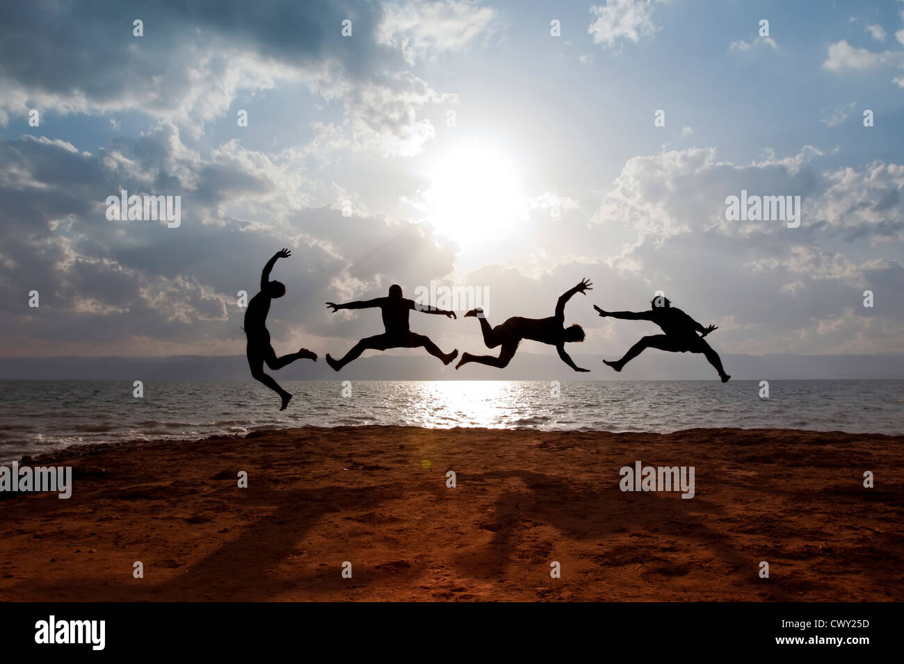 Surreal acrobatic activity - Stock Image