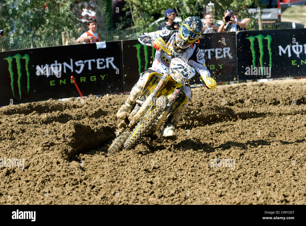 25 Clement Desalle  rounds the bend during the MX1 And MX2 Grand Prix of Europe Stock Photo