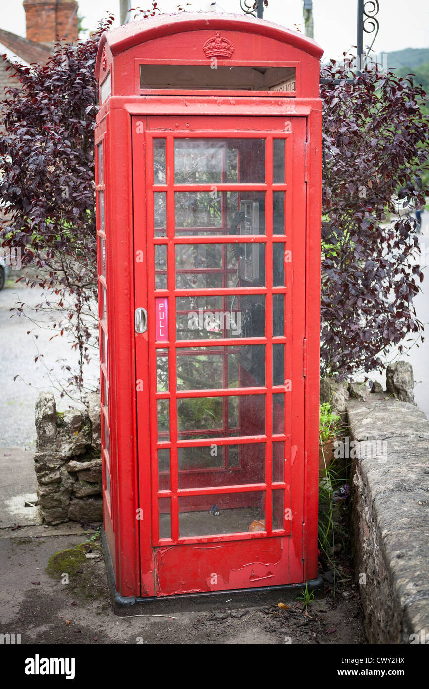 Red telephone box in the village of wookey hole, somerset - Stock Image