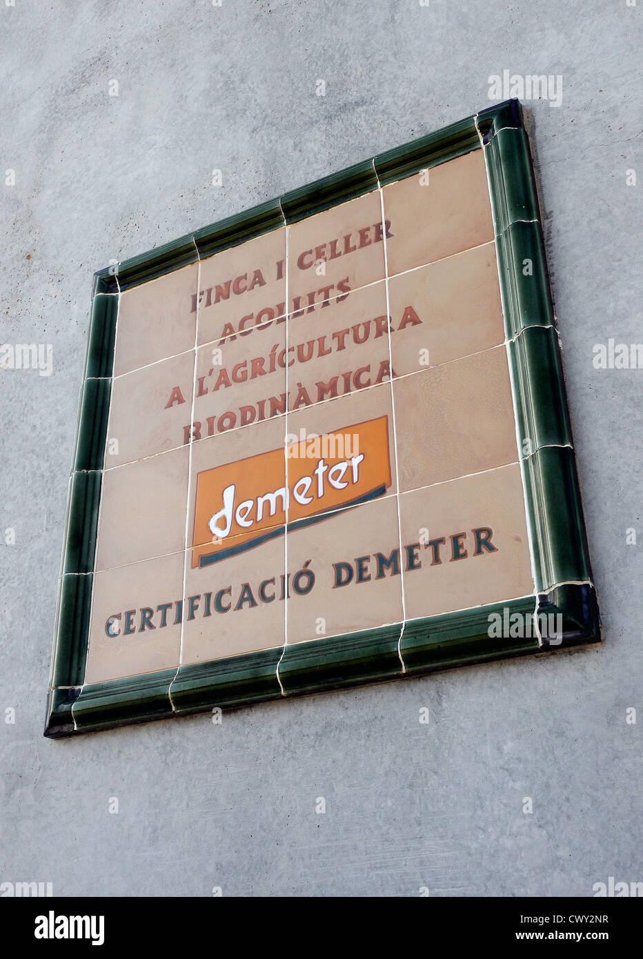 certificate of Demeter. Organic farming, biodynamics avoids chemical fertilizers and pesticide treatments.Priorat - Stock Image