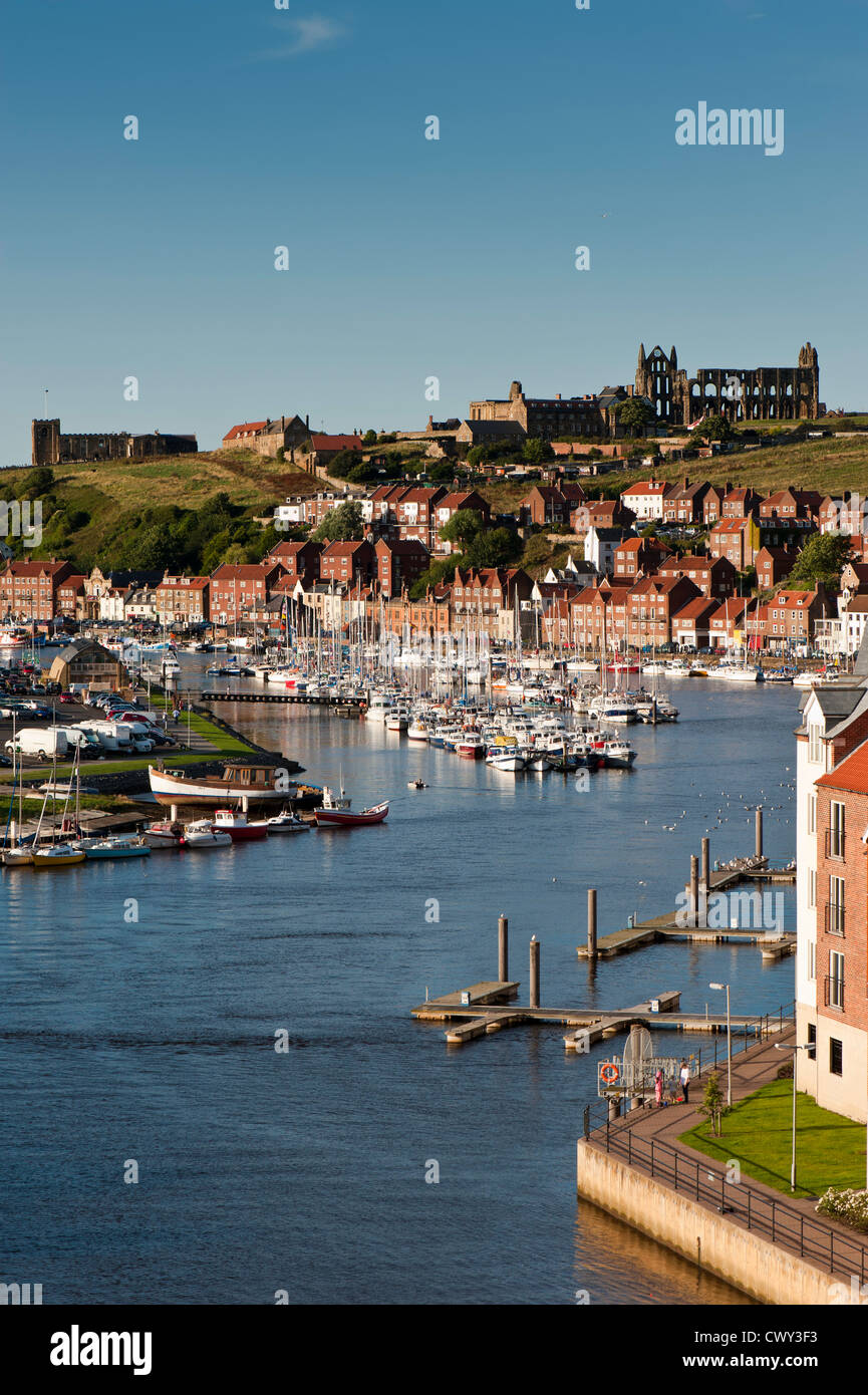 View of Whitby and River Esk, North Yorkshire, United Kingdom - Stock Image
