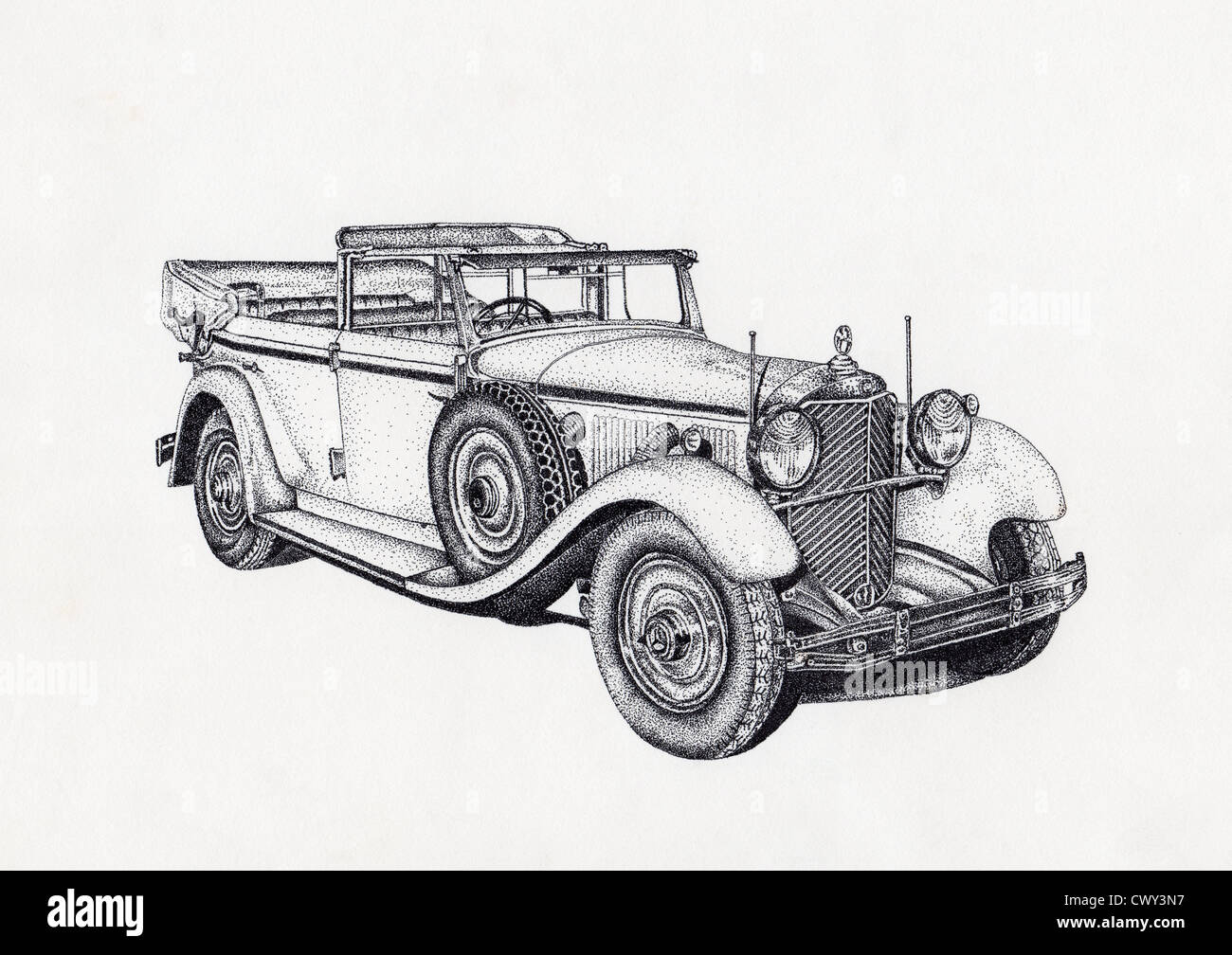 Pen and ink stippling effect drawing of antique car Stock Photo ...