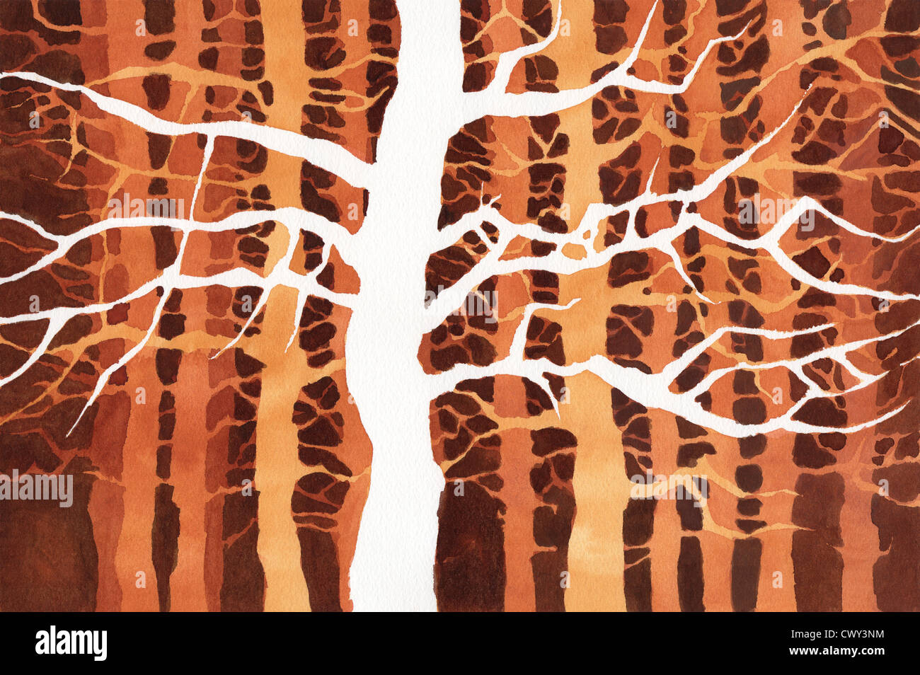 Painting of trees and branches on watercolor paper Stock Photo