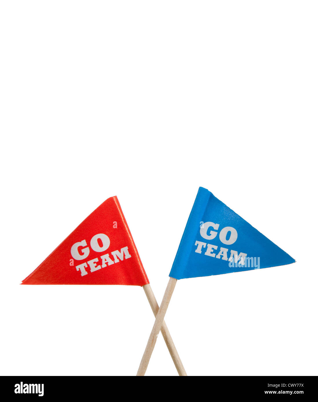 Red and blue 'Go Team' pennants on a white background with copy space - Stock Image