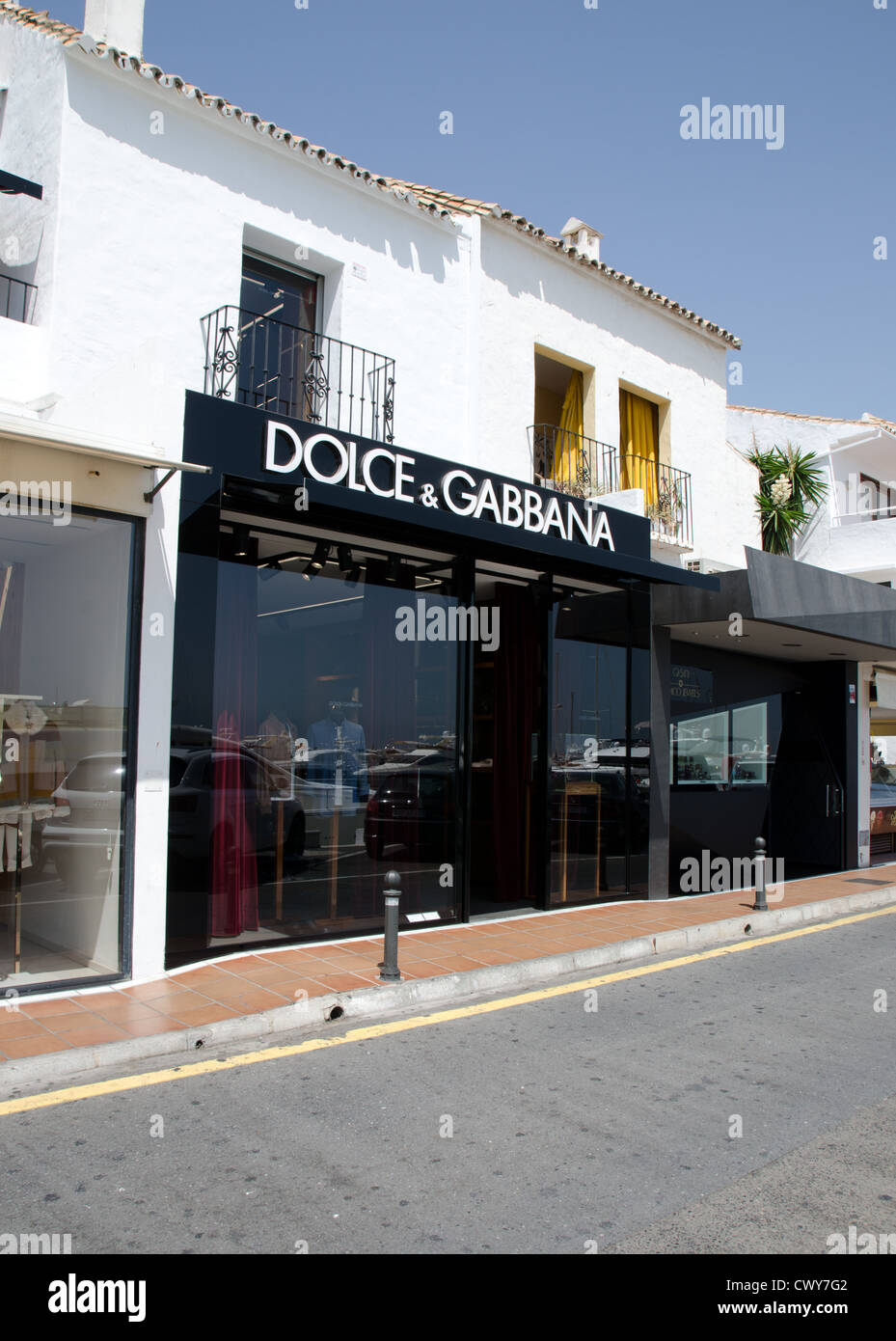 Dolce and Gabbana shop in Puerto Banus, Spain - Stock Image