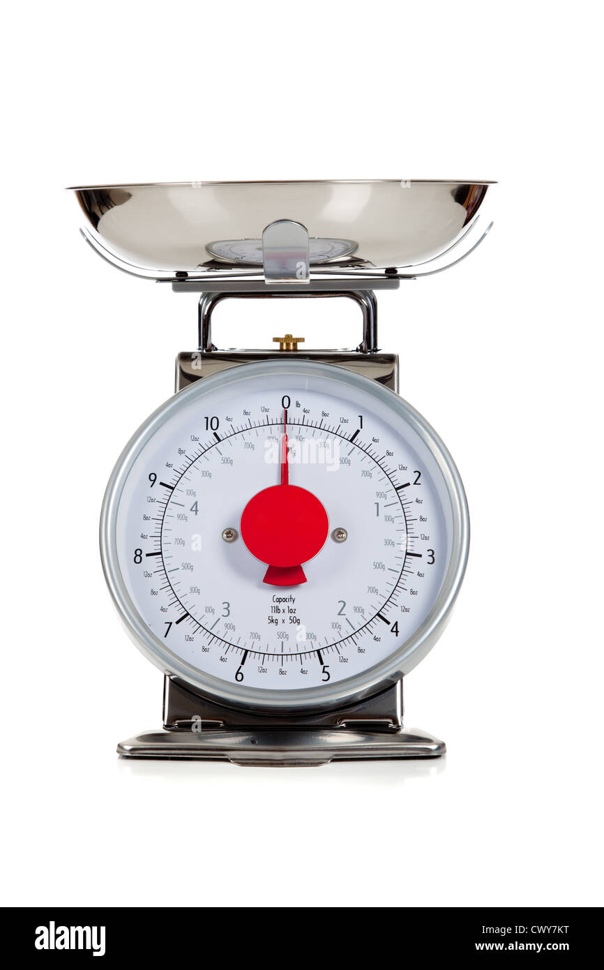 Food scale on a white background - Stock Image