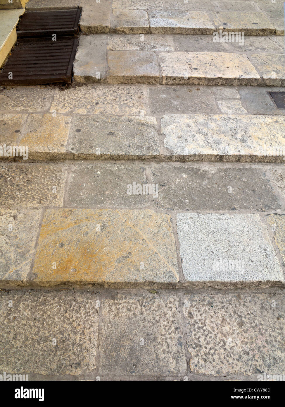 Shallow stone steps designed for easy access for the Knight's of Malta - Stock Image