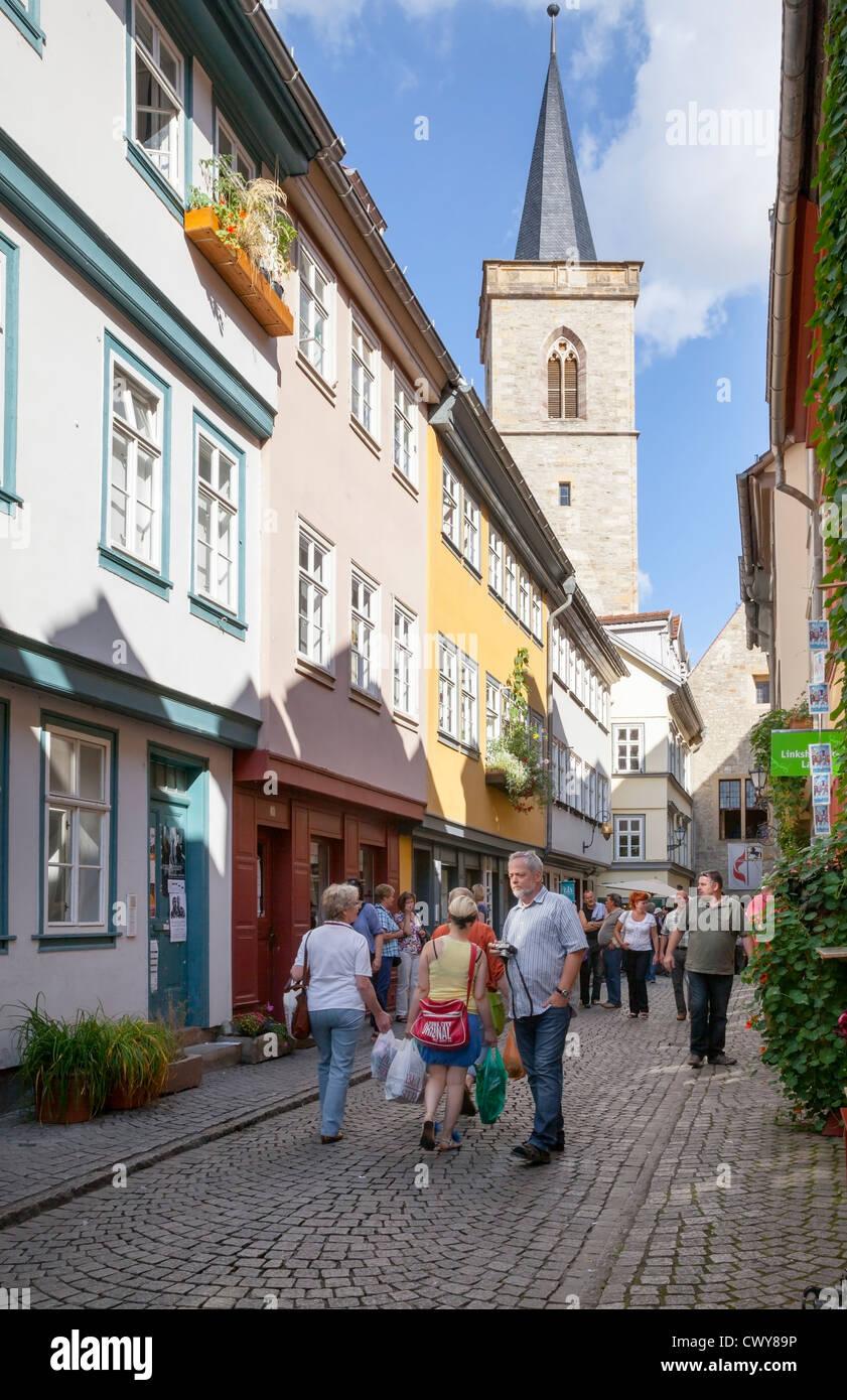 Merchants Bridge, Erfurt, Thuringia, Germany - Stock Image