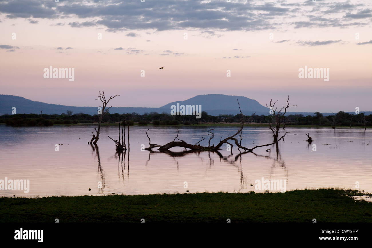 Dusk after sunset at Lake Manze, the Selous Game Reserve, Tanzania Africa - Stock Image
