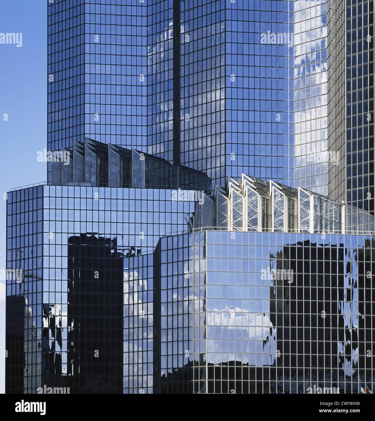 Glass reflections, City Office Buildings, La Defense, Paris, France, Europe bhz - Stock Image