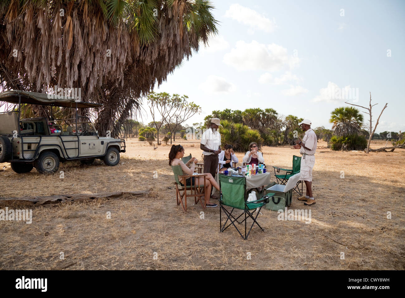 Tourists on a jeep safari stop for breakfast, the Selous Game reserve Tanzania africa - Stock Image