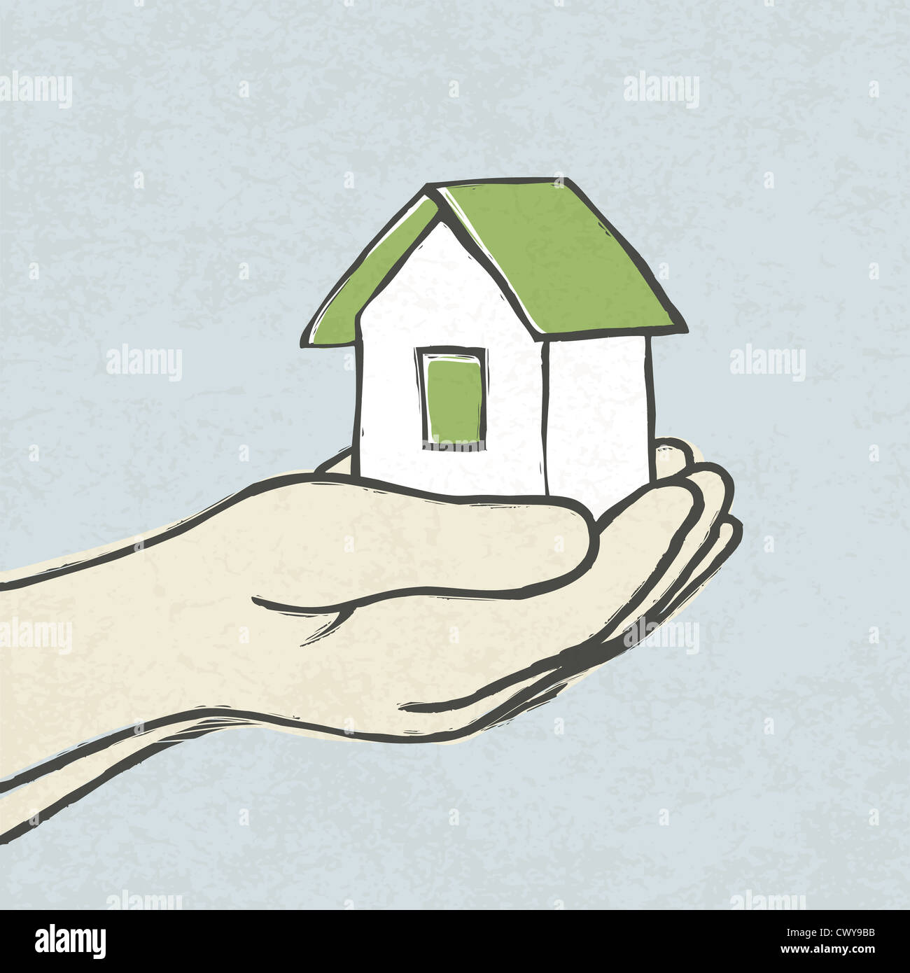 Greeen house in hands. Concept illustration - Stock Image