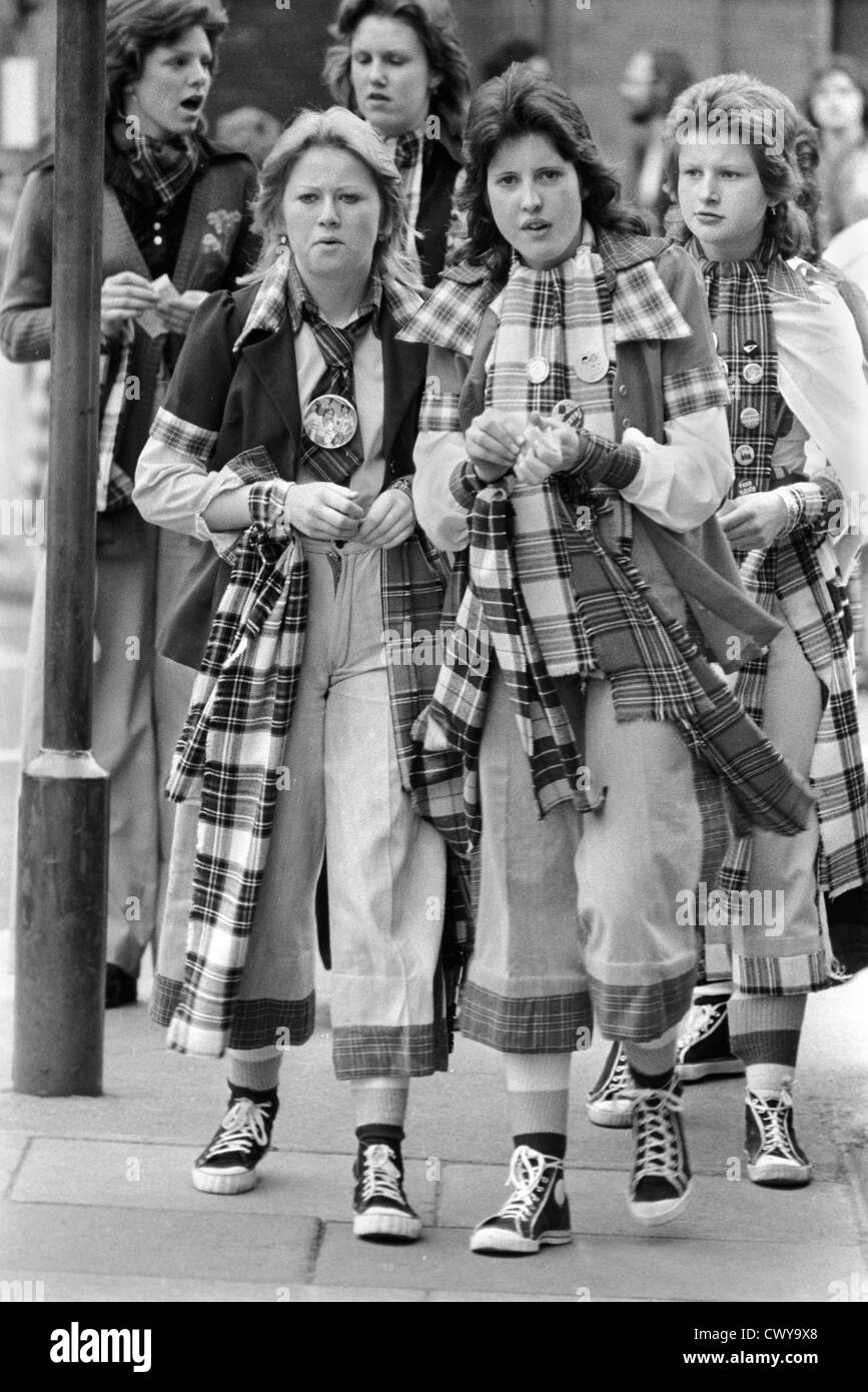 Bay City Rollers pop , boy band fans, Newcastle UK 1970s - Stock Image