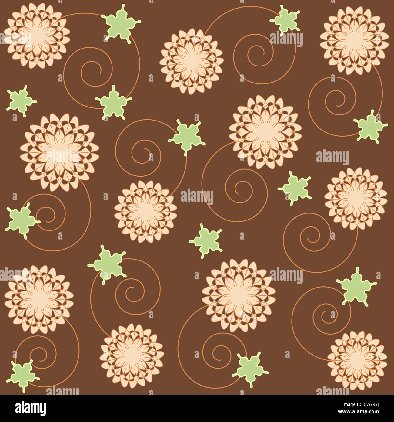 Seamless floral and spiral pattern on brown Stock Photo