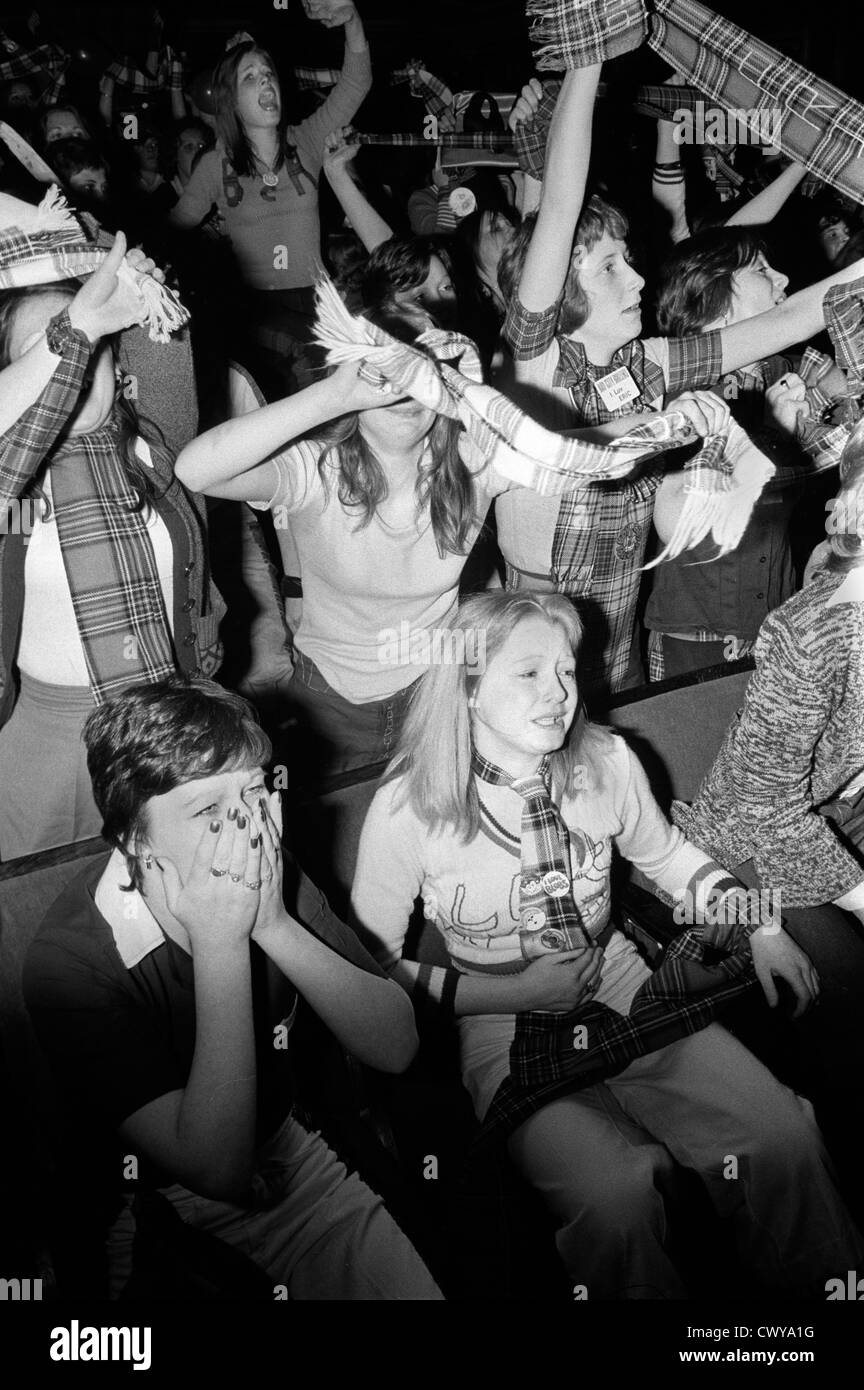 Bay City Rollers pop group boy band girl teen fans teenagers at concert Newcastle UK 1970s. HOMER SYKES Stock Photo