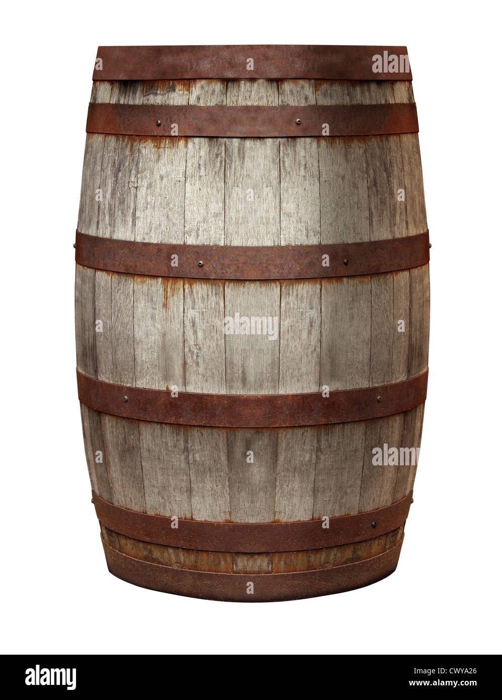 Old Barrel made of vintage weathered wood and rusty metal rings on an isolated white background for storing alcohol - Stock Image