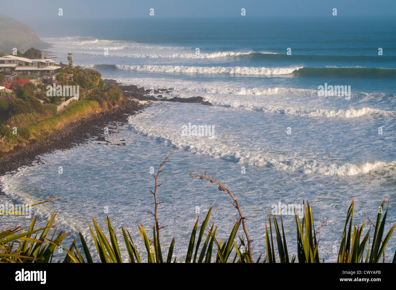 View from cliff overlooking Whale Bay, with surf points Whale Bay and Indicators in foreground. - Stock Image