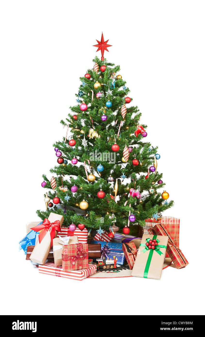 Beautiful christmas tree isolated on white background - studio shot - Stock Image
