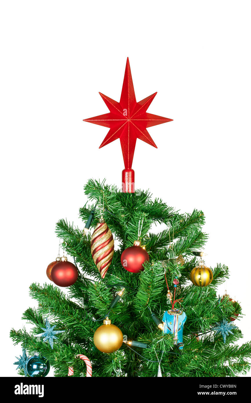 Detail of a beautiful christmas tree isolated on white background - studio shot - Stock Image