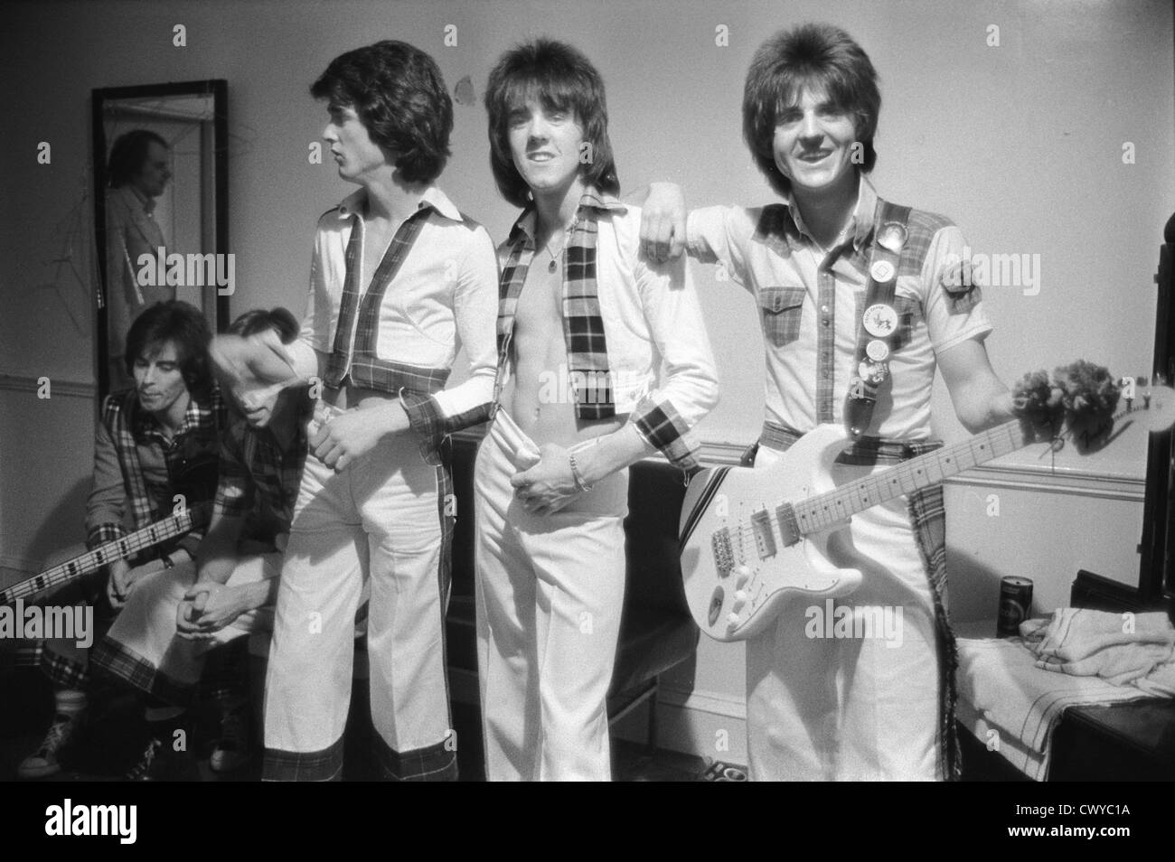 Bay City Rollers pop group boy band Newcastle UK 1970s dressing room after the show.  HOMER SYKES Stock Photo