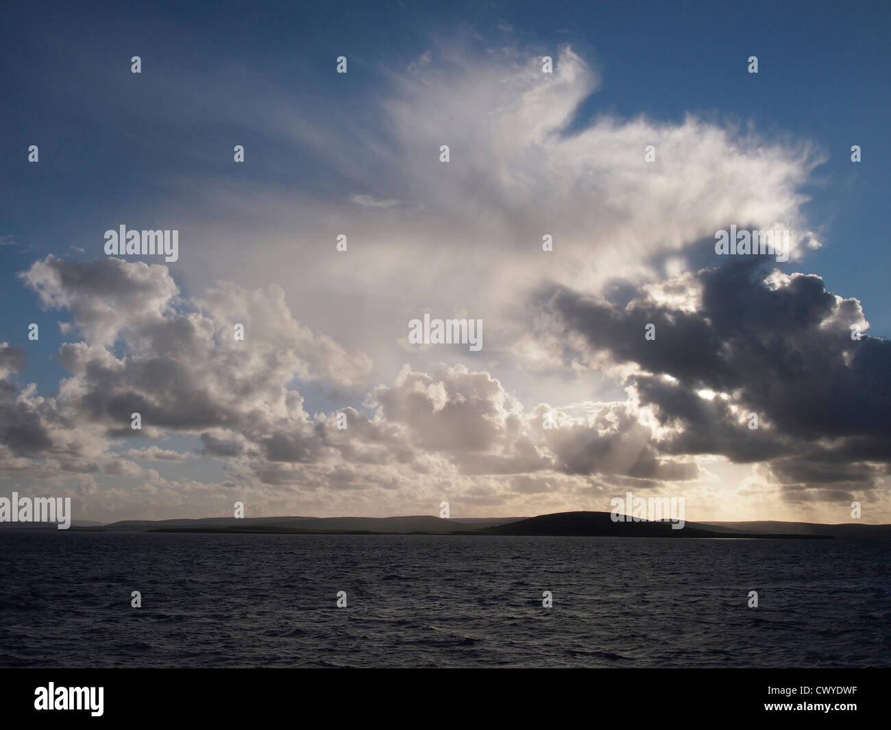 Evening clouds from Westray to Kirkwall ferry, Orkney - Stock Image