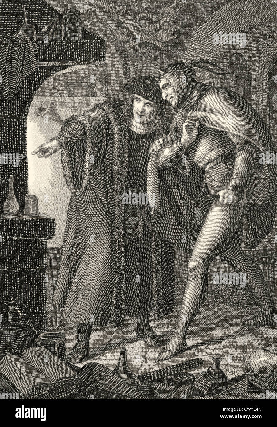 Faustian pact between Mephistopheles or Mephisto and Heinrich Faust, scene from the tragedy Faust by Johann Wolfgang - Stock Image