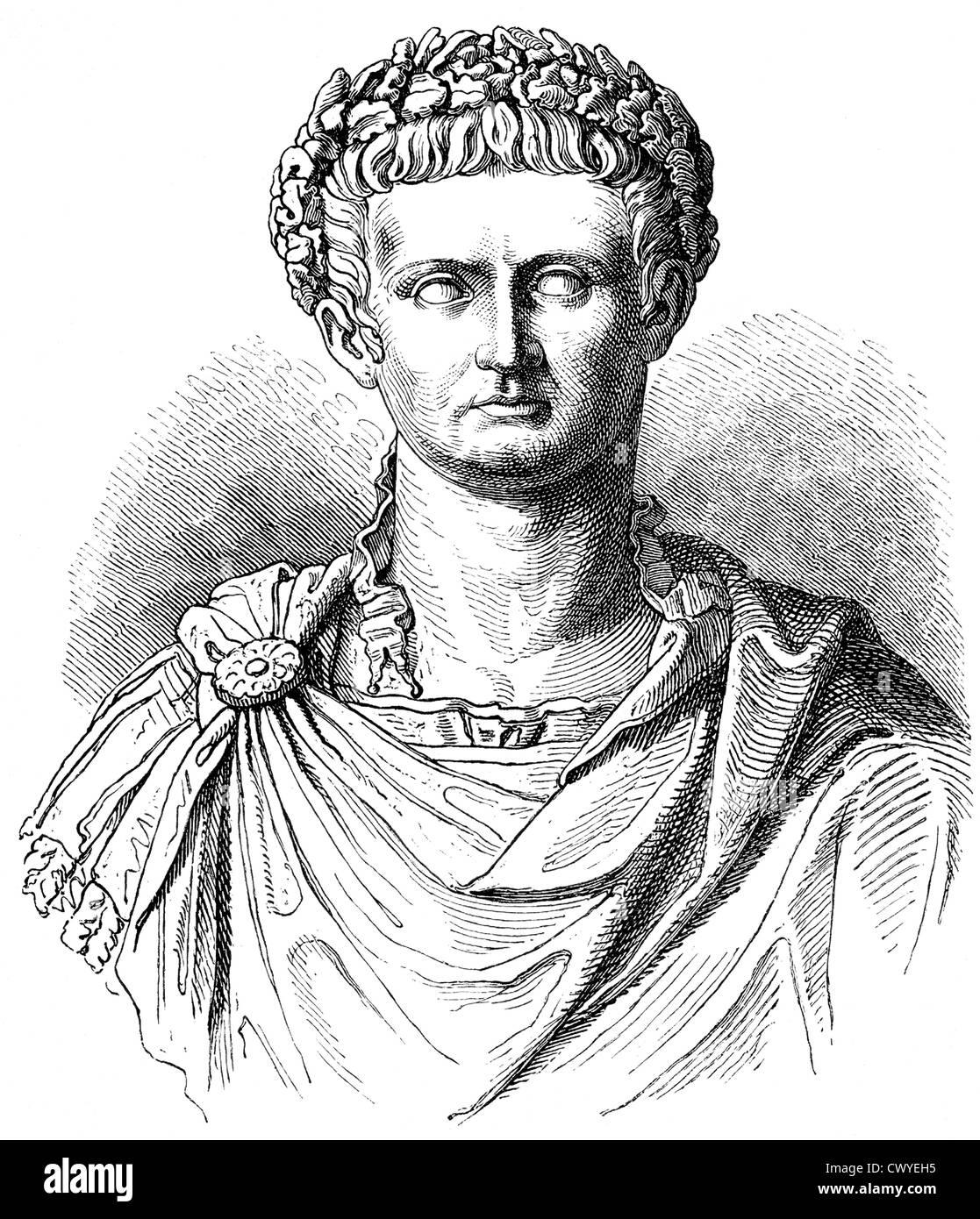 Tiberius Julius Caesar Augustus or Tiberius Claudius Nero, 42 BC - 37 AD, second emperor of the Roman Empire - Stock Image