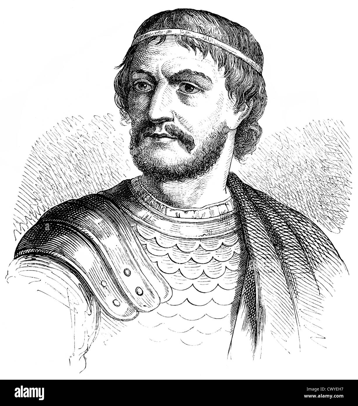 Charles Martel, Carolus Martellus, circa 688-741, Frankish military and political leader from the Arnulfings and - Stock Image