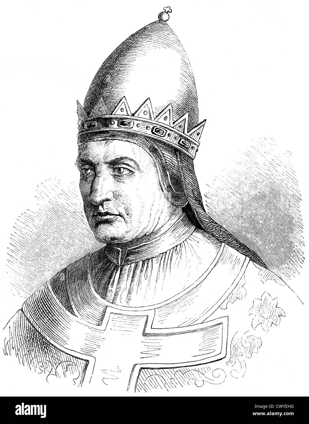 Pope Gregory VII, born Hildebrand of Sovana, Ildebrando da Soana, circa 1020-1085, pope from 1073-1085, - Stock Image