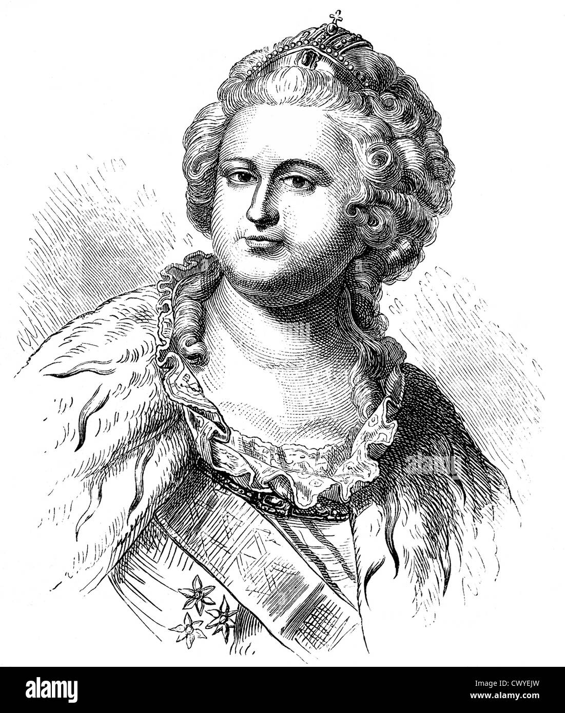 Catherine II or Catherine the Great, 1729 - 1796, Empress of Russia, Duchess of Holstein-Gottorp and Ruler of Jever Stock Photo