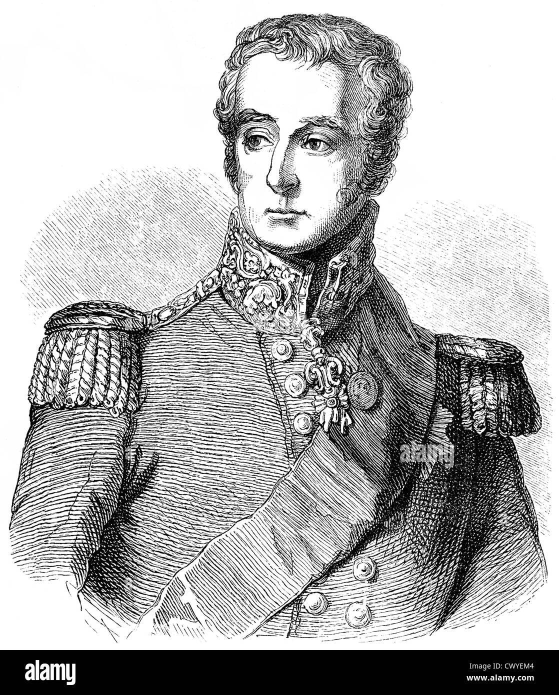 Historical drawing from the 19th century, portrait of Arthur Wellesley, 1st Duke of Wellington, 1769 - 1852, field - Stock Image