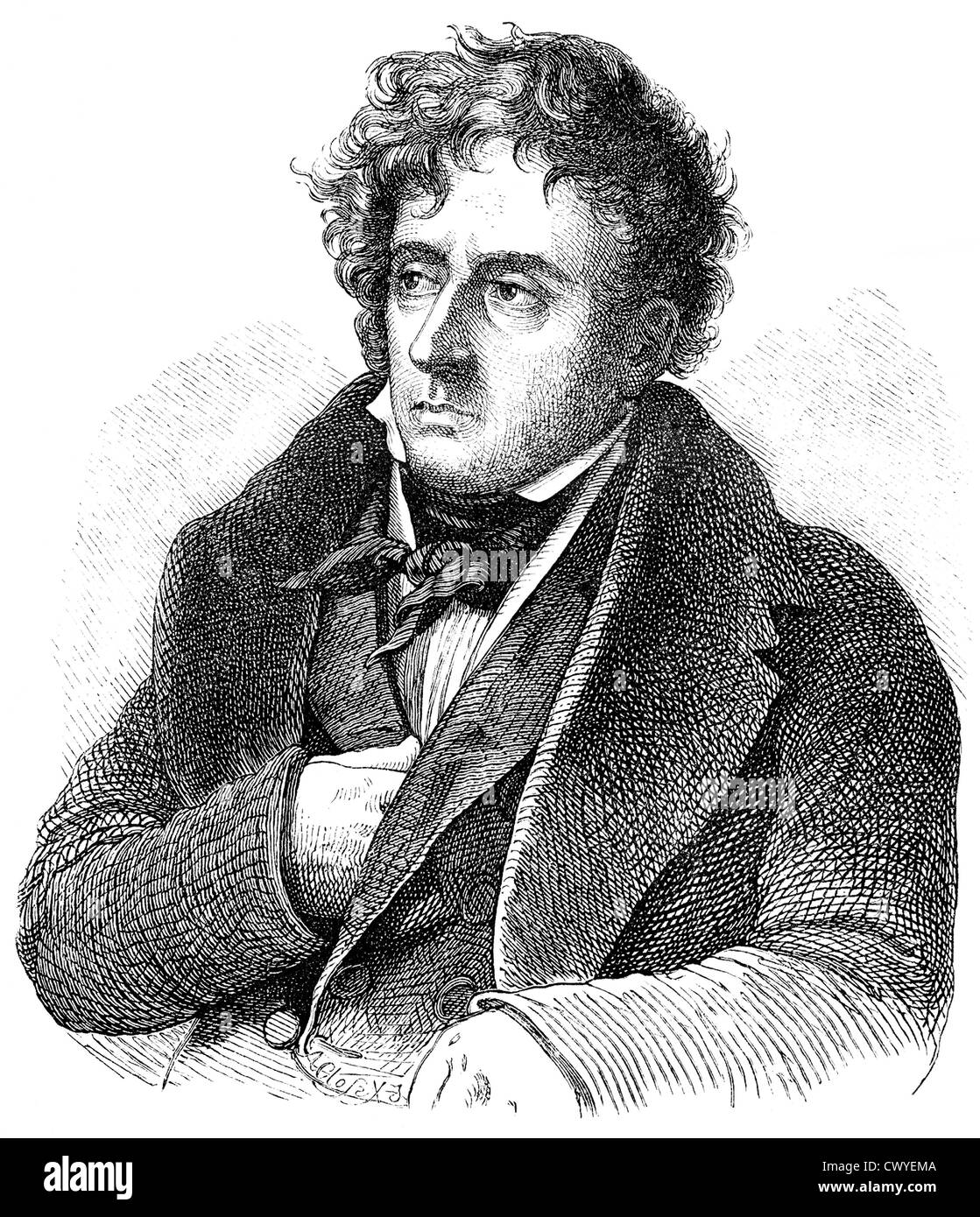 François-René, Vicomte de Chateaubriand, 1768 - 1848, a French writer, politician and diplomat, - Stock Image