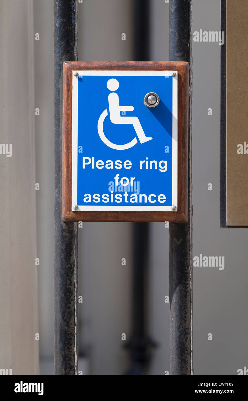 A bell for wheelchair users, UK - Stock Image