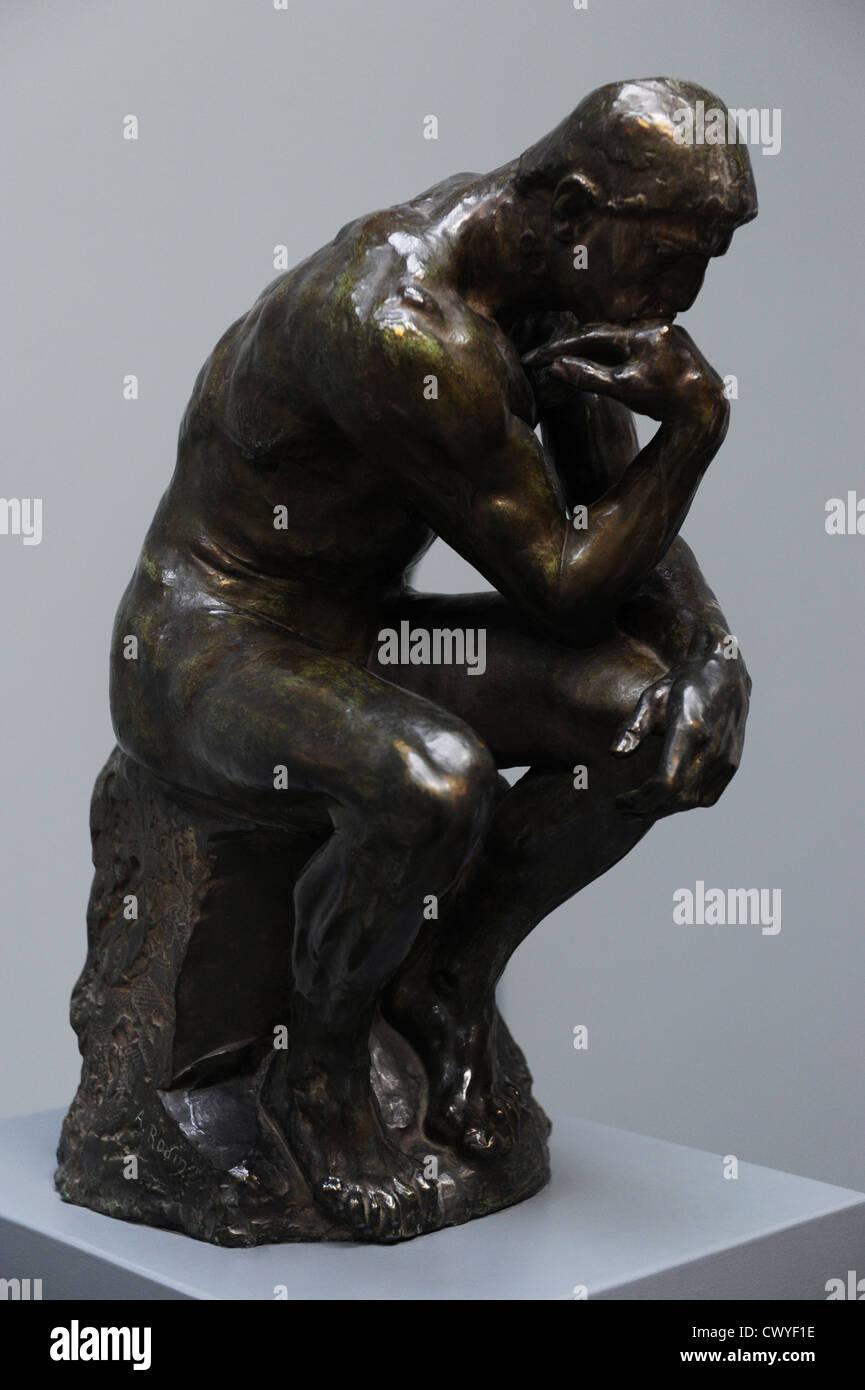 Auguste Rodin (1840-1917). French sculptor. The Thinker. Bronze. 1900-01 (1880). Ny Carlsberg Glyptotek. Copenhagen. - Stock Image