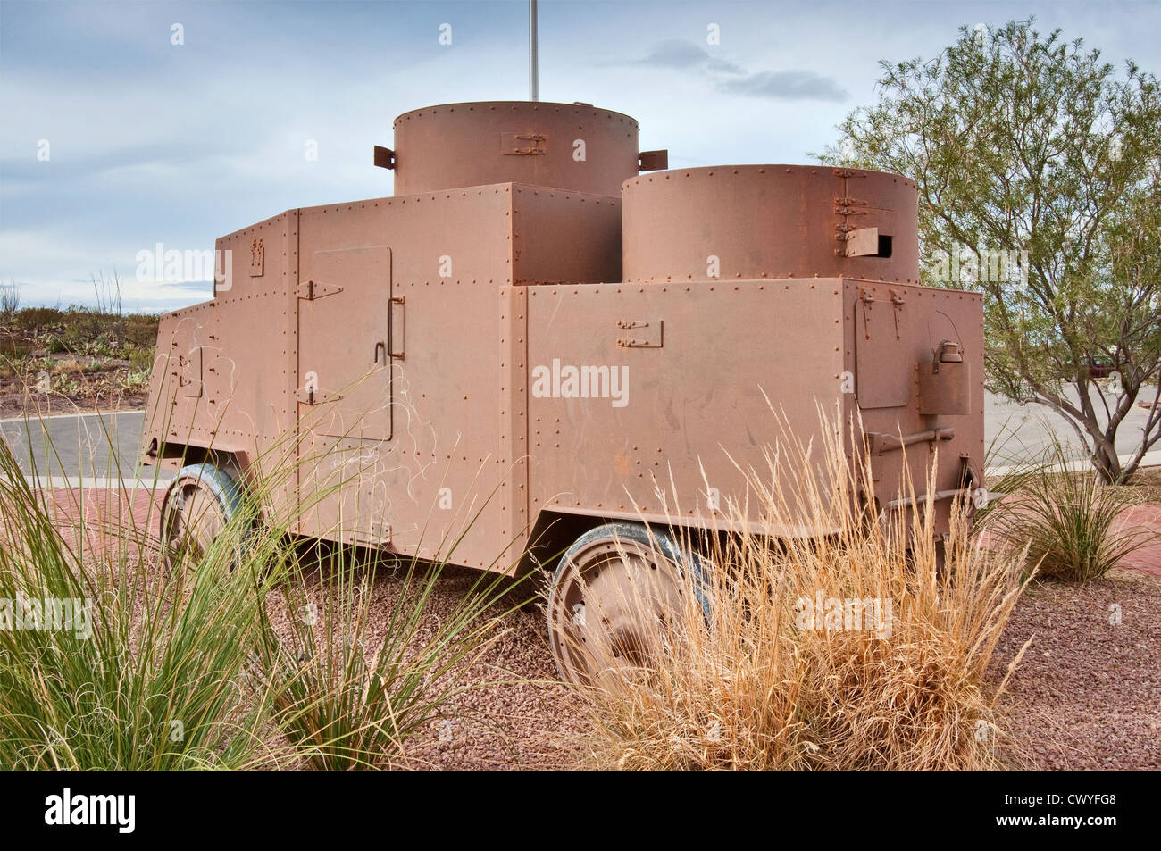 1915 Jeffery Quad Armored Truck, Gen. Pershing 'Punitive Exhibition' display at Pancho Villa State Park - Stock Image