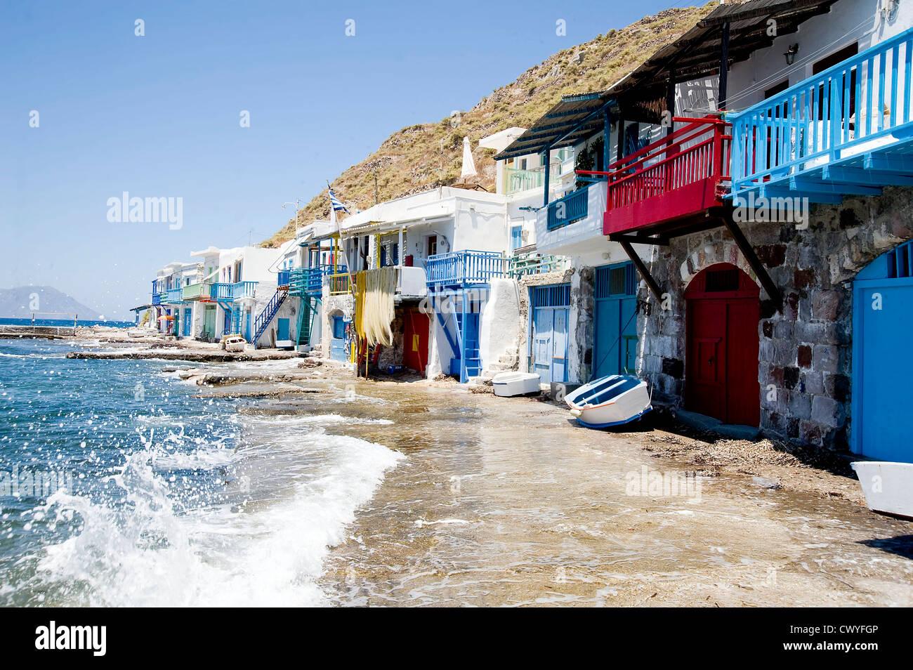 Fishing village Klima, Milos, Greece, Europe - Stock Image
