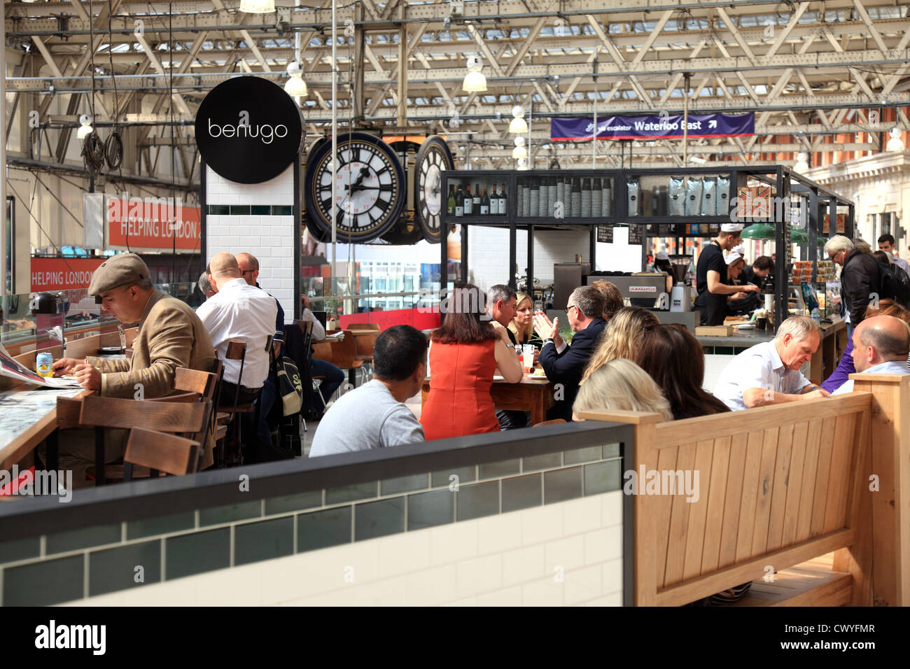 Waterloo Station Cafe Snack Bar in London UK. - Stock Image