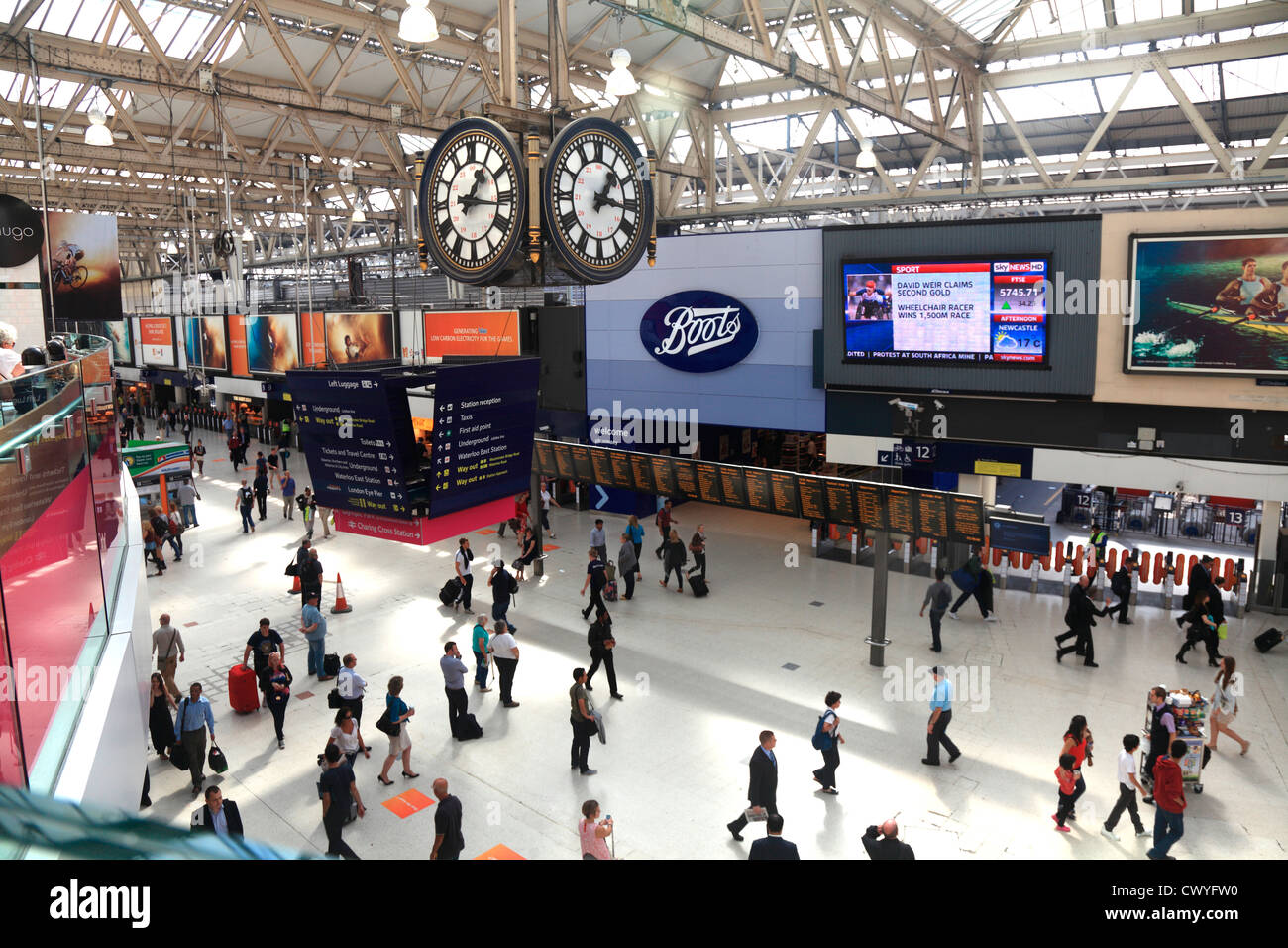 Waterloo Railway Station concourse in London UK. - Stock Image