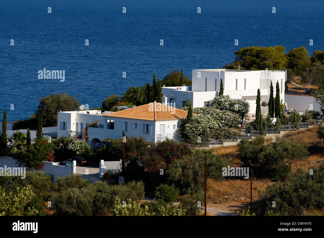 Villa at Porto Heli of the crown Prince Willem- Alexander of Netherlands - Stock Image