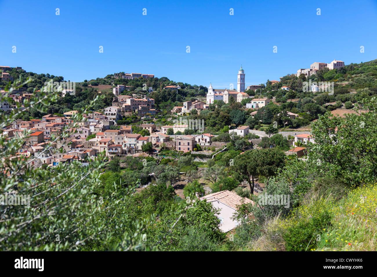 Mountain village in the hinterland of Calvi, Corsica, France - Stock Image