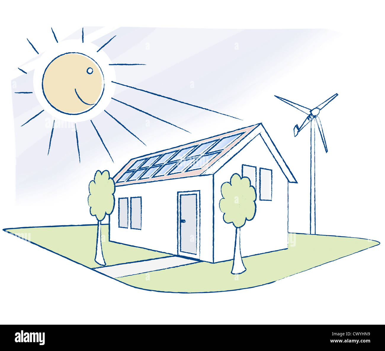 House with solar panels, illustration - Stock Image
