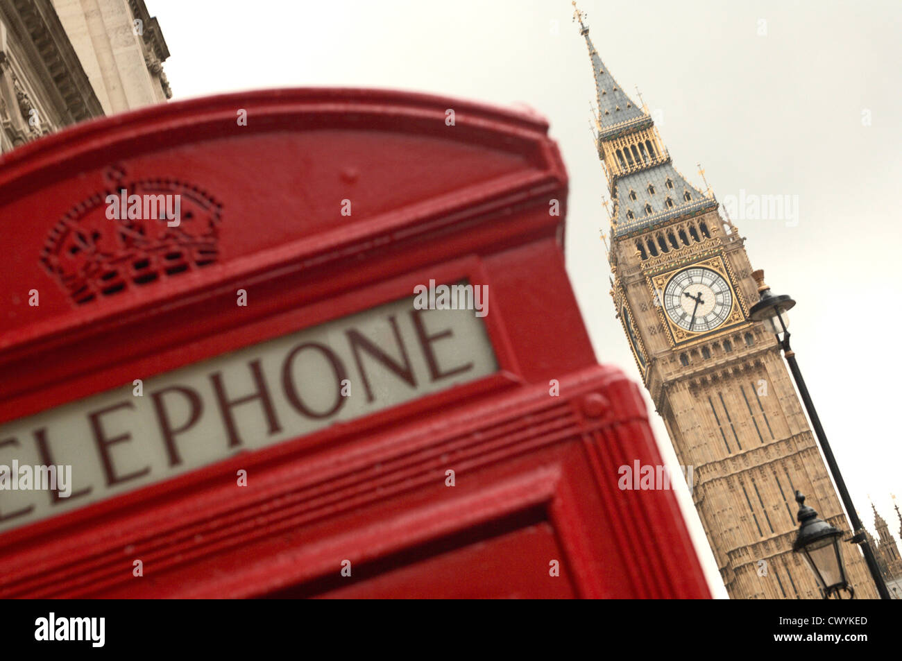 Big Ben and red telephone box, London, England, Great Britain, Europe - Stock Image